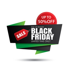 Black friday sale green and red banner template vector