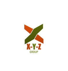 business company letter x y z icon vector image