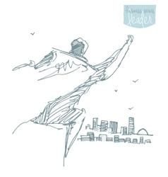 Businessman waving cloak freedom winner vector