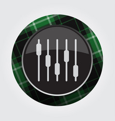 Button green black tartan - equalizer symbol vector