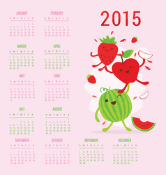Calendar 2015 fruit cute cartoon vector