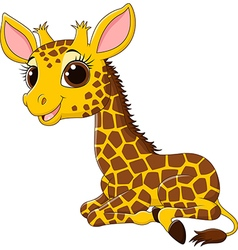 Cartoon funny giraffe sitting isolated vector image