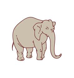 Cartoon grey elephant with long trunk standing vector