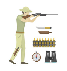 cartoon of hunter aiming rifle vector image
