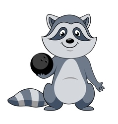 Cartoon raccoon player with bowling ball vector image