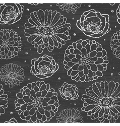 Chalk flowers blackboard seamless pattern vector