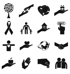 Charity black simple icons vector