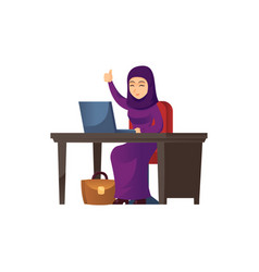 cheerful arabian woman working at laptop vector image
