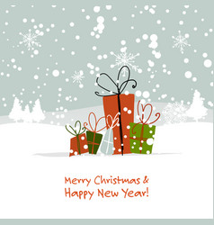 christmas gifts greeting card for your design vector image