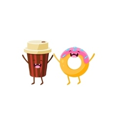 Coffee And Doughnut Cartoon Friends vector