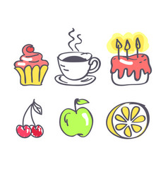 coffee with fruits and sweets vector image