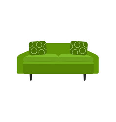colorful green sofa - home furniture element with vector image