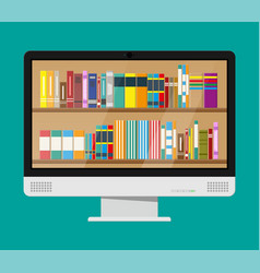 computer monitor and book shelf vector image