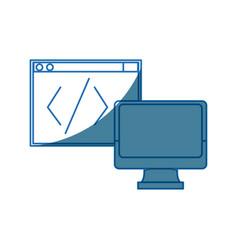 computer monitor programming design graphic vector image