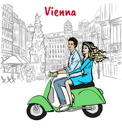 Couple driving scooter in vienna vector