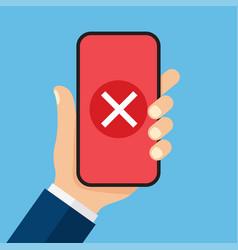 cross mark on smartphone screen vector image