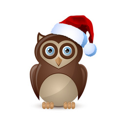 cute and funny christmas owl character with santa vector image