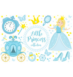 cute little princess cinderella set objects vector image