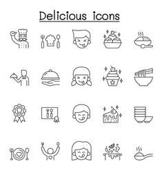 delicious icons set in thin line style vector image