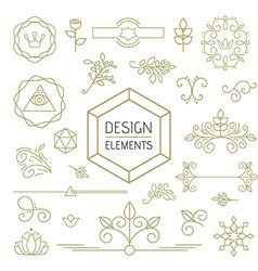 Design element set mono line art ornamental nature vector