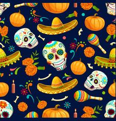 dia de los muertos mexican seamless pattern vector image