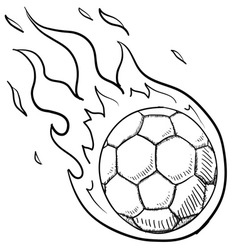 doodle soccer football fire vector image