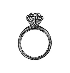 dotwork diamond ring vector image