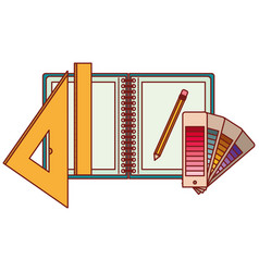 drawing tools and notebook in colorful silhouette vector image