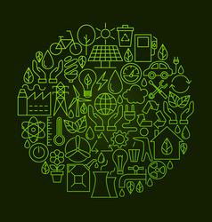 Ecology line icon circle concept vector