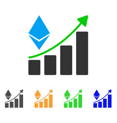 ethereum growth trend icon vector image