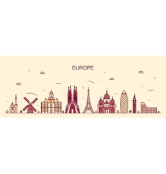 Europe skyline detailed silhouette line art style vector image