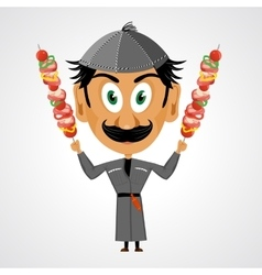 faunny cartoon georgian holding kebab vector image