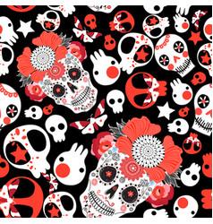 Festive pattern of cheerful skulls vector
