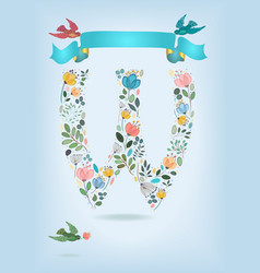 floral letter w with blue ribbon and three doves vector image