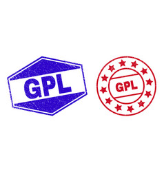 Gpl unclean badges in circle and hexagonal forms vector