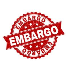 Grunge textured embargo stamp seal vector