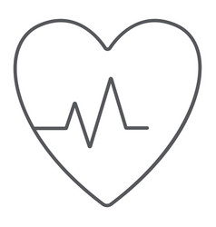 Heartbeat thin line icon cardiogram and heart vector