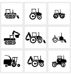 icon set tractors and kombain vector image