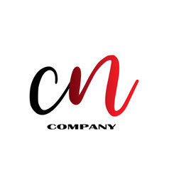 initial letter cn linked design logo vector image