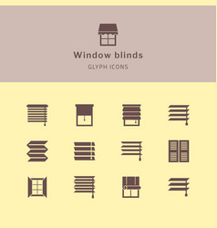 isolated icons set window blinds vector image