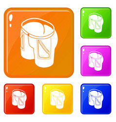 jeans icons set color vector image