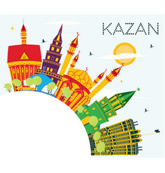 kazan russia city skyline with color buildings vector image
