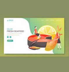 Landing page for seafood online order app vector