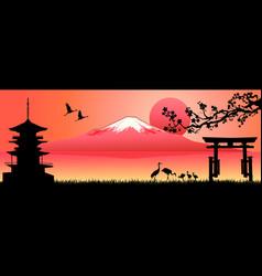 Landscape mount fuji at sunset vector