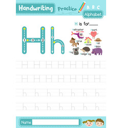 Letter h uppercase and lowercase tracing practice vector