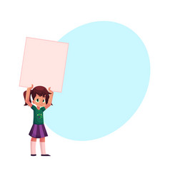 little girl child kid holding blank empty poster vector image vector image
