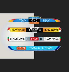 Live scoreboard digital screen graphic template vector