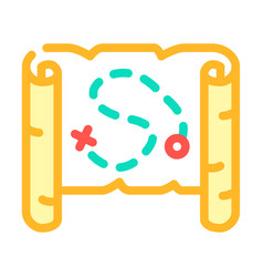 Map treasure color icon vector