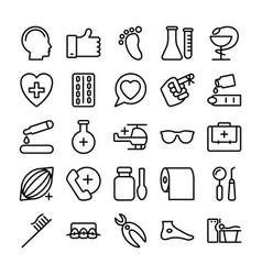 medical health and hospital line icons 4 vector image