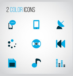 music icons colored set with audio mixer previous vector image